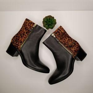 NATURALIZER Black & Leopard Harding Boots Sz 9